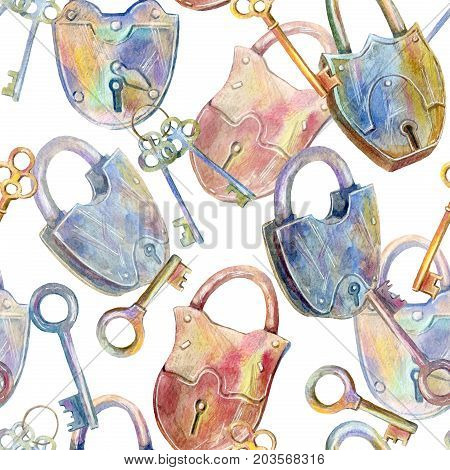 Seamless pattern of a padlock and key.Watercolor hand drawn illustration.White background.