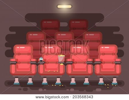 Stock vector illustration cartoon interior of cinema hall with armchairs for watching film or movie, popcorn, drinks in flat style