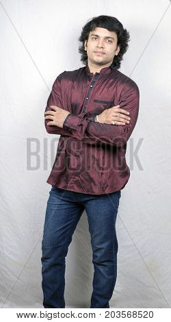 young indian male model in red prince collar shirt