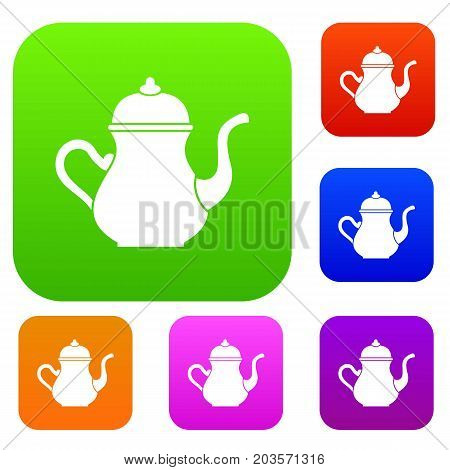 Traditional Turkish teapot set icon color in flat style isolated on white. Collection sings vector illustration