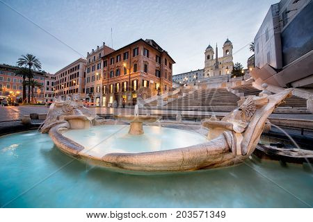 Beautiful Piazza di Spagna in Rome. Morning shot at sunrise