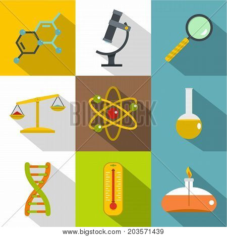 Chemical experience icon set. Flat style set of 9 chemical experience vector icons for web design