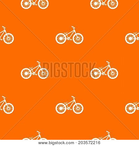 Bike pattern repeat seamless in orange color for any design. Vector geometric illustration