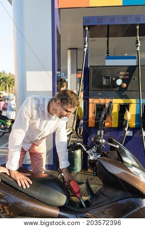 Man Fueling Motorcycle On Station Young Motorcyclist Petrol Bike