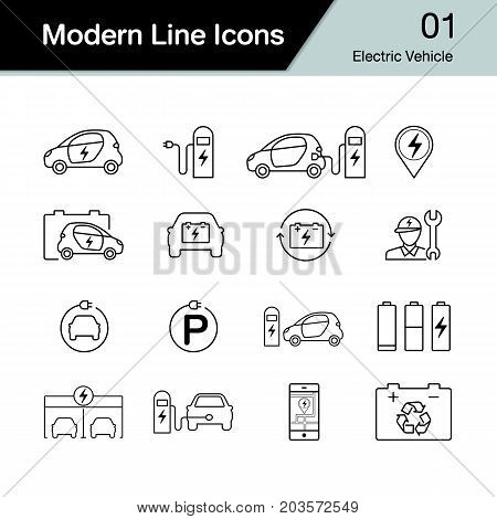 Electric Car Icon Set 1. Hybrid Vehicle Symbol. Eco Friendly Auto Or Electric Vehicle Concept. Moder