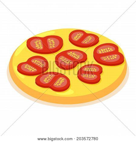 Chopped tomato icon. Isometric illustration of chopped tomato vector icon for web