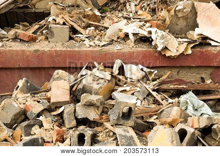 House Destroyed Bricks, Sticks Trees, Debris Beam Natural Disaster