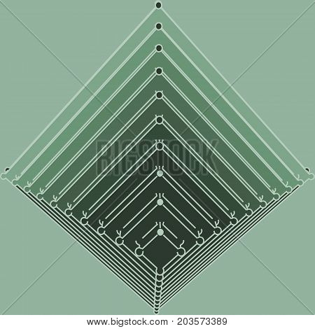 Vector brochure or report design template. Connected lines with dots. Isometric pyramid