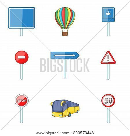 City street sign icon set. Cartoon set of 9 city street sign vector icons for web design isolated on white background
