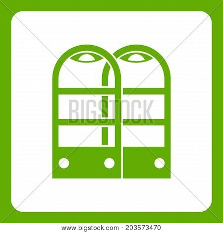 Shop security anti theft sensor gates icon white isolated on green background. Vector illustration