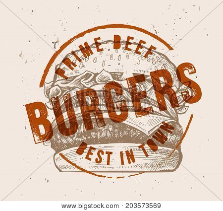 vector hand drawn hamburger with vintage stamp