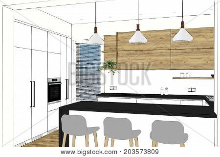 3D rendering. Modern kitchen design in light interior. Kitchen sketch. There is also a kitchen peninsula in the room. Kitchen and living room combined. Interior design.