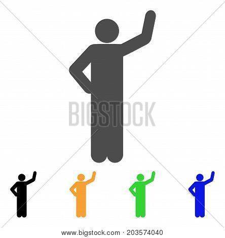 Assurance Pose icon. Vector illustration style is a flat iconic assurance pose symbol with black, grey, green, blue, yellow color variants. Designed for web and software interfaces.
