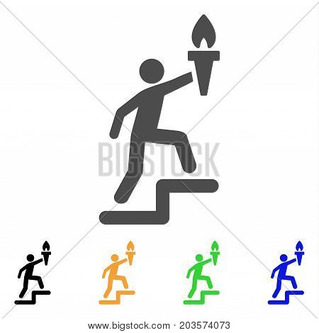 Climbing Leader With Torch icon. Vector illustration style is a flat iconic climbing leader with torch symbol with black, gray, green, blue, yellow color variants.