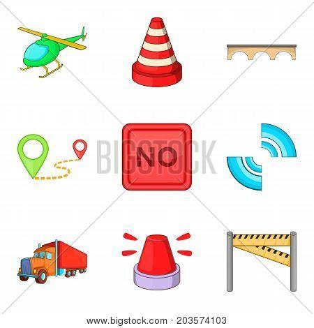 City navigation mark icon set. Cartoon set of 9 city navigation mark vector icons for web design isolated on white background