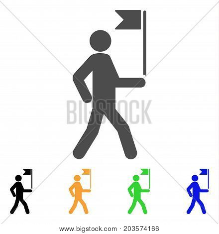 Guide Man With Flag icon. Vector illustration style is a flat iconic guide man with flag symbol with black, gray, green, blue, yellow color variants. Designed for web and software interfaces.