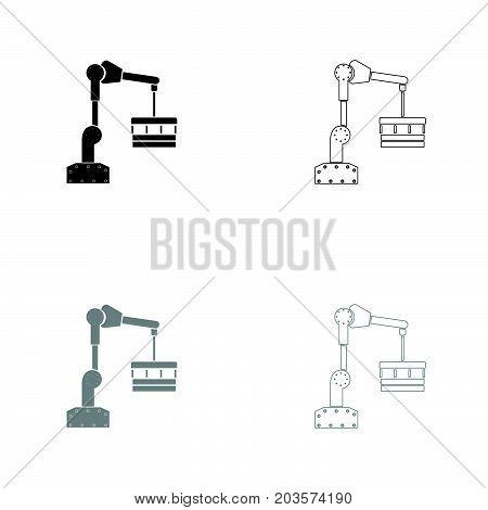Robotic Hand Manipulator Black And Grey Set Icon .