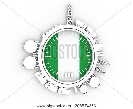 Circle with energy relative silhouettes. Design set of natural gas industry. Objects located around the manometer circle. 3D rendering. Flag of the Nigeria