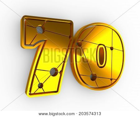 70 number illustration. Classic style sport team font. Golden material numbers decorated by lines and dots pattern. Ice hockey emblem. 3D rendering