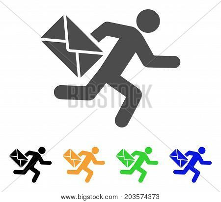 Mail Courier icon. Vector illustration style is a flat iconic mail courier symbol with black, gray, green, blue, yellow color versions. Designed for web and software interfaces.