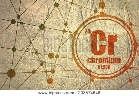 Chromium chemical element. Sign with atomic number and atomic weight. Chemical element of periodic table. Molecule And Communication Background. Connected lines with dots. Grunge distress texture.