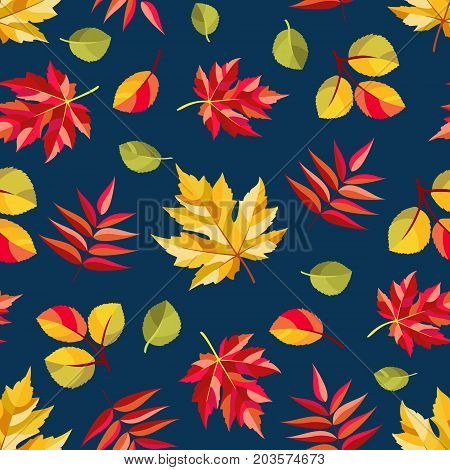 Autumn pattern with colorful abstract leaves of maple, aspen and rowan. Seamless ornament. Dark background. Fall season theme. Vector illustration.