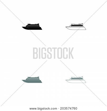 Transatlantic Cruise Liner Black And Grey Set Icon