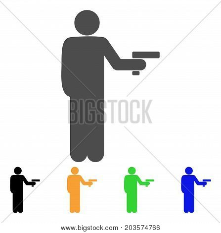 Robber With Gun icon. Vector illustration style is a flat iconic robber with gun symbol with black, gray, green, blue, yellow color variants. Designed for web and software interfaces.
