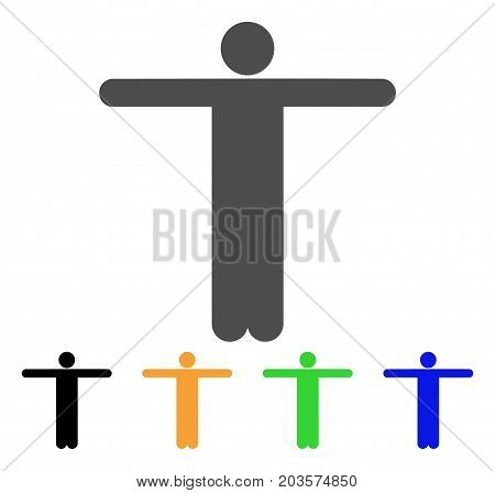 Scarecrow Pose icon. Vector illustration style is a flat iconic scarecrow pose symbol with black, gray, green, blue, yellow color variants. Designed for web and software interfaces.
