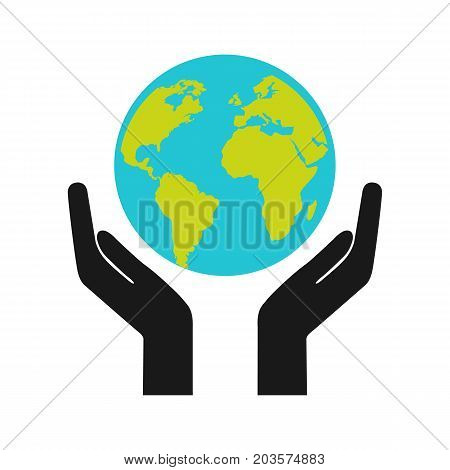 Hands holding earth web black icon. Happy earth day. Save earth concept. Vector stock.