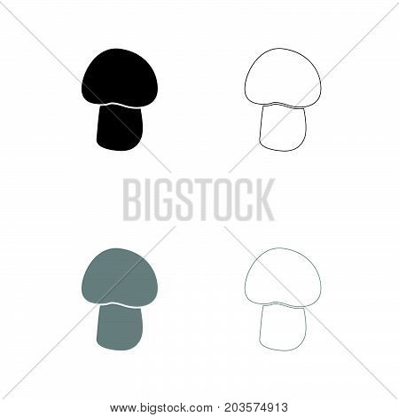 Mushroom - Champignon Black And Grey Set Icon .