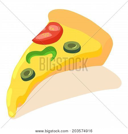 Sliced pizza icon. Isometric illustration of sliced pizza vector icon for web