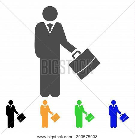 Standing Businessman icon. Vector illustration style is a flat iconic standing businessman symbol with black, gray, green, blue, yellow color versions. Designed for web and software interfaces.