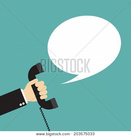 Hand holding phone with speech bubble. ìVector stock.