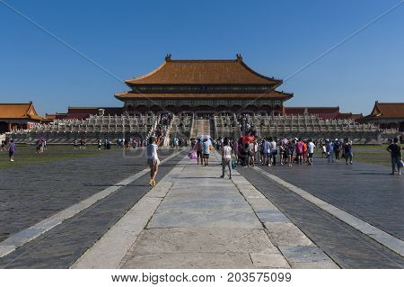 Beijing China - July 29 2012: People at the Forbidden City in the city of Beijing in China