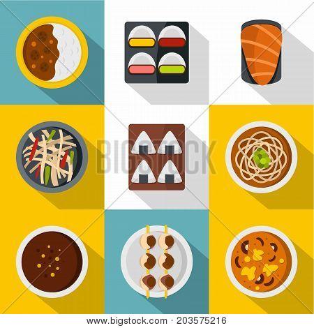 Delicious japanese food icon set. Flat style set of 9 delicious japanese food vector icons for web design