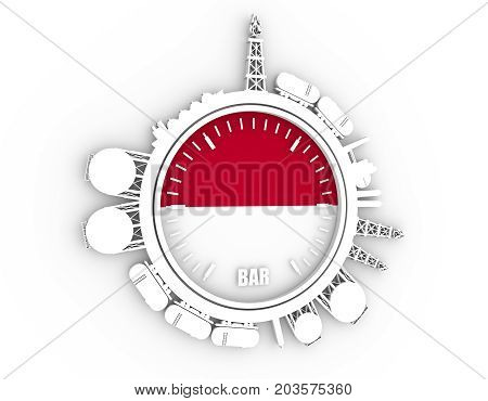 Circle with energy relative silhouettes. Design set of natural gas industry. Objects located around the manometer circle. 3D rendering. Flag of the Indonesia