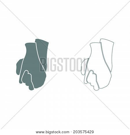 Hand holding another hand grey set icons .