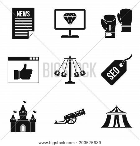 World news icons set. Simple set of 9 world news vector icons for web isolated on white background