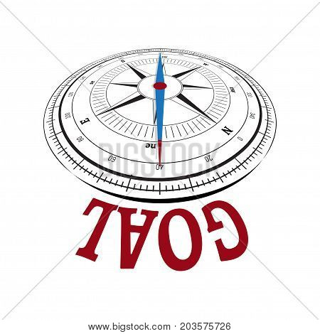 Compass concept with the needle pointing a word. Conceptual image over white for achieving competitive goal