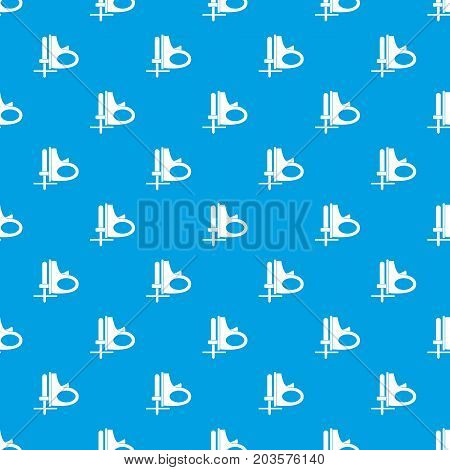 Cordless reciprocating saw pattern repeat seamless in blue color for any design. Vector geometric illustration