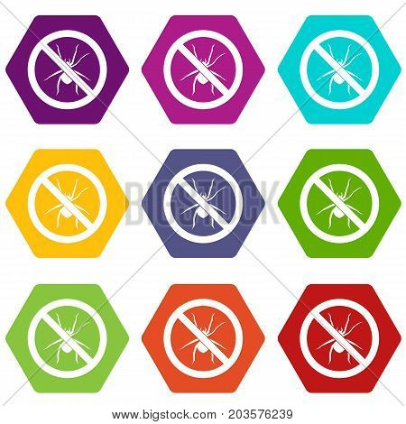 No spider sign icon set many color hexahedron isolated on white vector illustration