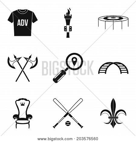 Props for movie icons set. Simple set of 9 props for movie vector icons for web isolated on white background