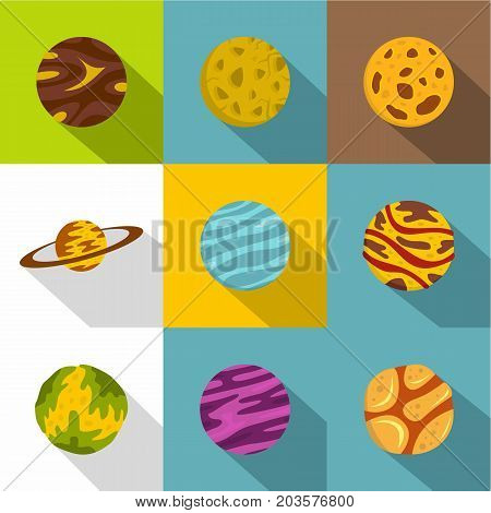 Space planet icon set. Flat style set of 9 space planet vector icons for web design