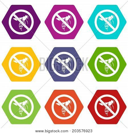 No wasp sign icon set many color hexahedron isolated on white vector illustration