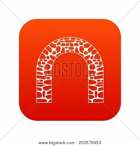 Arch icon digital red for any design isolated on white vector illustration