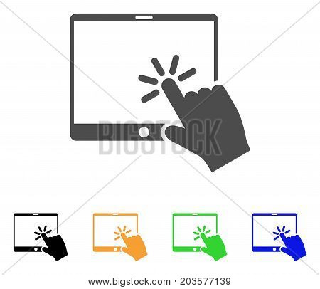 Click Mobile Tablet icon. Vector illustration style is a flat iconic click mobile tablet symbol with black, gray, green, blue, yellow color variants. Designed for web and software interfaces.