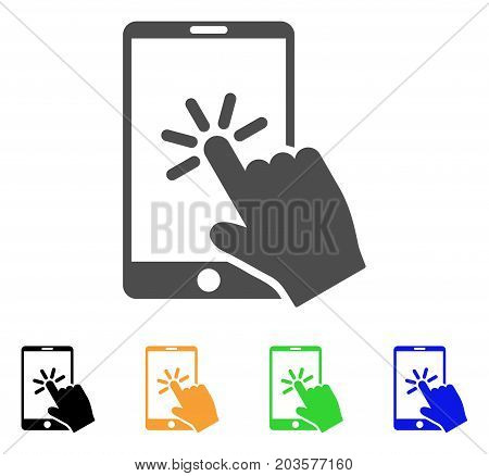 Click Smartphone icon. Vector illustration style is a flat iconic click smartphone symbol with black, gray, green, blue, yellow color versions. Designed for web and software interfaces.
