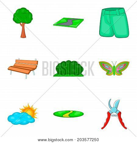 City park icon set. Cartoon set of 9 city park vector icons for web design isolated on white background
