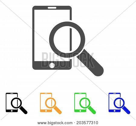 Find Smartphone icon. Vector illustration style is a flat iconic find smartphone symbol with black, gray, green, blue, yellow color versions. Designed for web and software interfaces.